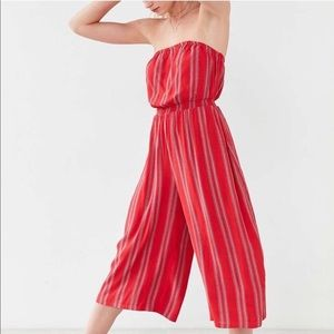 UO Silence + Noise Stripe Strapless Jumpsuit